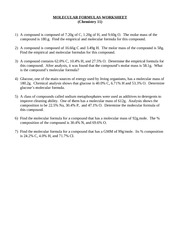 Molecular Formulas Worksheet - improve cleaning ability One of ...