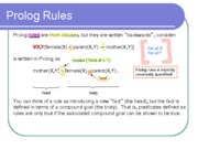 Prolog Rules, Lists and Pattern Matching