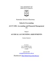 Week 5 Lecture Notes - Accrual Accounting Adjustments