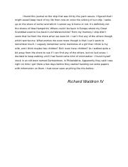 Section One: Diary of Richard Waldron IV (DC History Project).docx