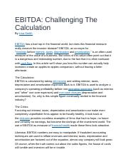 EBITDA Challenging The Calculation