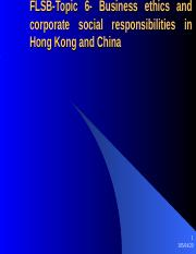 FLSB-Business ethics and corporate social responsiblities in China and Hong Kong