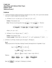 Midterm 1 Solutions (Tantalo)
