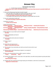 Semester Exam Review Answers - Answer Key Fall Semester Exam