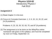 PHYS 1210 - 02 Lecture Notes - How Things Move