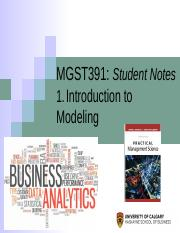 1) MGST391 NOTES Intro to Modeling - Excel 2016.pptx