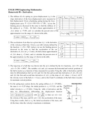Homework 8 Solution on Derivatives