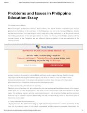 Problems and Issues in Philippine Education Essay