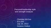 Personal leadership style and strengths analysis