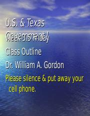 U.S. & Texas Government I - Week 3.5 Friday Class Outline.ppt