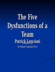 The Five Dysfunctions of a Team(1)