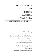 [Solutions Manual] Introduction to Linear Algebra 3Ed - Gilbert Strang