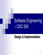 Lecture6 Design Implementation Pdf Software Engineering U2013 Csc 500 Design Implementation 1 Agenda Overview U25fc Object Oriented Design Using