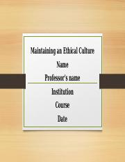 Maintaining An Ethical Culture.