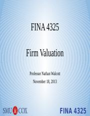 Lecture 8 - Firm Valuation