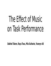 The Effect of Music on Task Performance