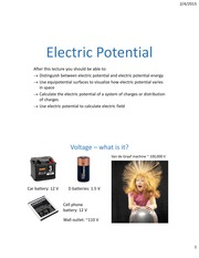 Lecture06 ch23 ElectricPotential