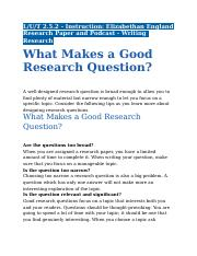 2.5.2 - Instruction - Elizabethan England Research Paper and Podcast - Writing Research Questions.do