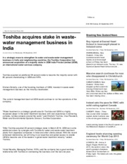 Auckland News - Toshiba acquires stake in waste-water management business in India