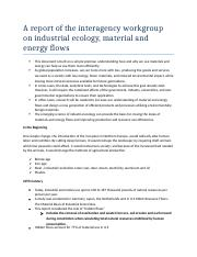 A report of the interagency workgroup on industrial ecology
