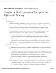 Chapter 19: The Expansion of Europe in the Eighteenth Century - AP European History Chapter Outlines