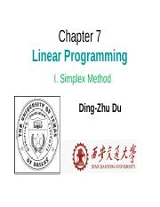 chapter7-1 ppt - Chapter 7 Linear Programming I Simplex Method Ding