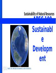 Lecture 3 - Sustainability of Natural Resources