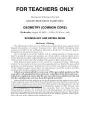 geometry regents raw score chart