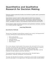 Unit 1 Quantitative and Qualitative Research for Decision Making.docx
