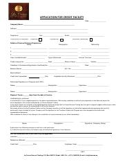 Credit Facility Application