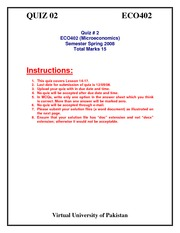 Microeconomics - ECO402 Spring 2008 Assignment 03