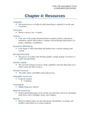 Chapter 4 resources notes