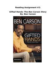 8th Grade Summer Assignment 2 Gifted Hands The Ben Carson Story