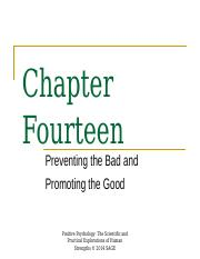 Spring 2016 Chapter 14 Preventing the Bad and Promoting the Good