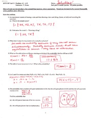 Practice Test Solution Fall 2009  on Statistics and Probability