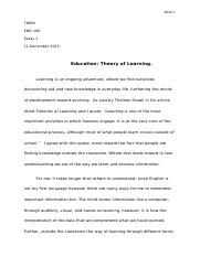 Essay # 1.Education Theory of Learning