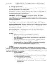 Study Guide Chapter 4- Extended Mendelian Genetics and Pedigree.docx