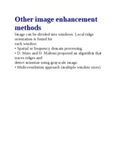 Other image enhancement methods
