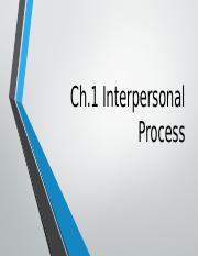 ch. 1 Interpersonal Communication