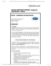 Stage - BAC+3 - Nantes - Lorina Inc - Commerce-International - SALES SUPPORT INTERN - Import & Distr