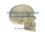 Anatomy and Physiology. Bio 110 lab quiz study guide.
