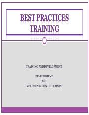 Best Practices Training