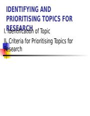 Lesson 2 Identifying and prioritising topics  for research