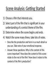 Scene Analysis guidelines(2)
