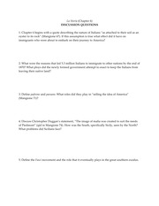 La Storia - Ch. 6 -Discussion Questions