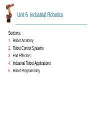06 _industrial_robotics - Unit 6 Industrial Robotics Sections 1