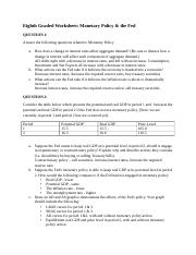 Eighth Graded Worksheet - Monetary Policy and the Fed - Answers