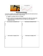 Oil Demand, Supply and Equilibrium Worksheet