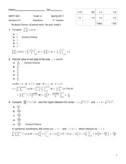 MATH 251H Exam 2 Version A Solutions