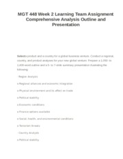 MGT 448 Week 2 Learning Team Assignment Comprehensive Analysis Outline and Presentation